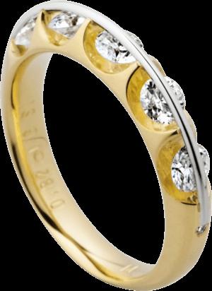 Ring Schaffrath Liberté aus 750 Gelbgold und 800 Platin mit 7 Brillanten (0,81 Karat)