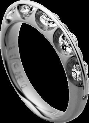 Ring Schaffrath Liberté aus 750 Weißgold und 800 Platin mit 7 Brillanten (0,81 Karat)