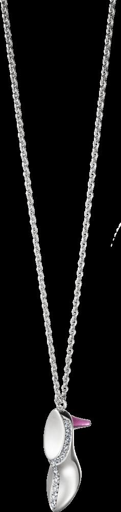 Halskette mit Anhänger Schaffrath Stilettos aus 750 Weißgold mit 17 Diamanten (0,09 Karat) und 1 Korund