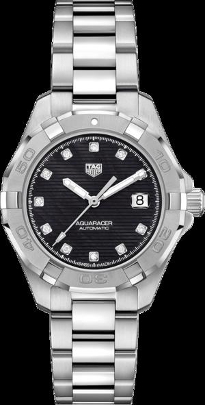 Damenuhr TAG Heuer Aquaracer Automatic 32mm mit Diamanten, schwarzem Zifferblatt und Edelstahlarmband