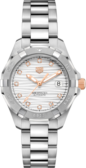 Damenuhr TAG Heuer Aquaracer Automatic 32mm mit Diamanten, grauem Zifferblatt und Edelstahlarmband
