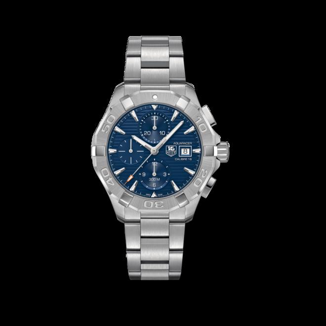 Herrenuhr TAG Heuer Aquaracer Automatic Chronograph 43mm mit blauem Zifferblatt und Edelstahlarmband bei Brogle