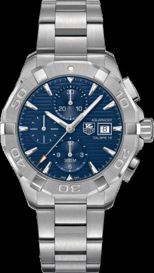 Herrenuhr TAG Heuer Aquaracer Automatic Chronograph 43mm mit blauem Zifferblatt und Edelstahlarmband