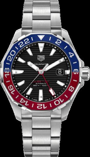 Herrenuhr TAG Heuer Aquaracer Automatic GMT 43mm mit schwarzem Zifferblatt und Edelstahlarmband