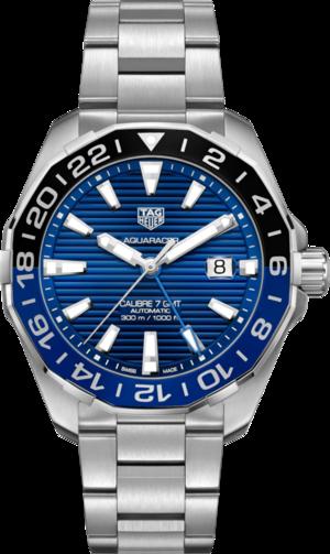Herrenuhr TAG Heuer Aquaracer Automatic GMT 43mm mit blauem Zifferblatt und Edelstahlarmband