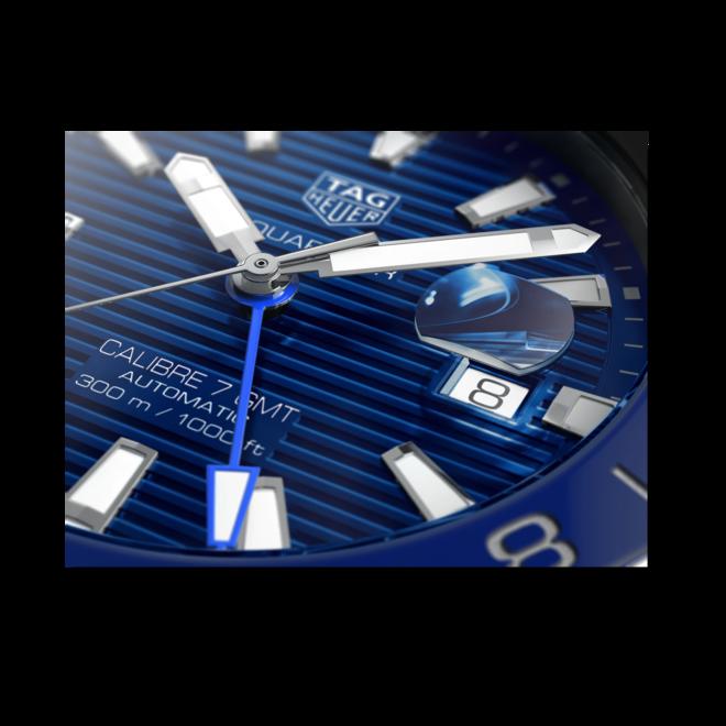 Herrenuhr TAG Heuer Aquaracer Automatic GMT 43mm mit blauem Zifferblatt und Edelstahlarmband bei Brogle