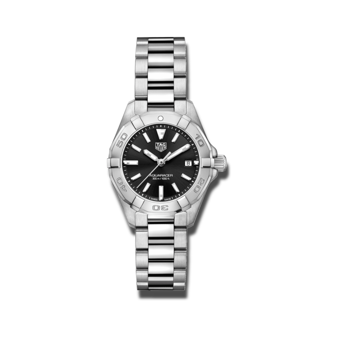 Damenuhr TAG Heuer Aquaracer Lady Quartz 27mm mit schwarzem Zifferblatt und Edelstahlarmband bei Brogle