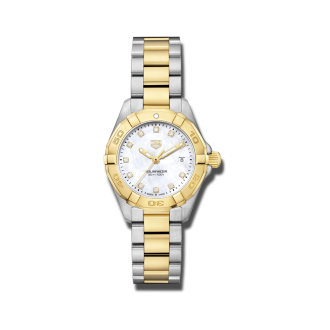 Damenuhr TAG Heuer Aquaracer Lady Quartz 27mm mit Diamanten, perlmuttfarbenem Zifferblatt und Edelstahlarmband bei Brogle
