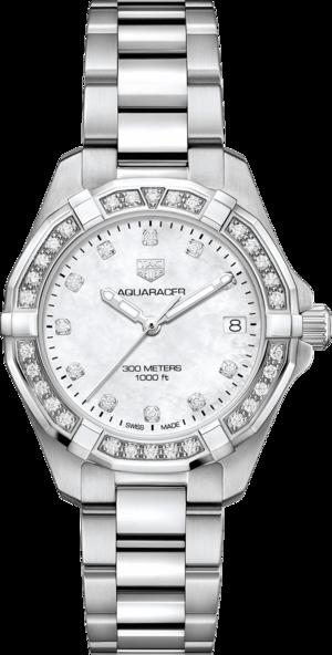 Damenuhr TAG Heuer Aquaracer Lady Quartz 32mm mit Diamanten, weißem Zifferblatt und Edelstahlarmband