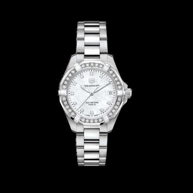 Damenuhr TAG Heuer Aquaracer Lady Quartz 32mm mit Diamanten, weißem Zifferblatt und Edelstahlarmband bei Brogle
