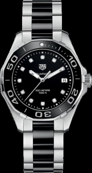 Damenuhr TAG Heuer Aquaracer Lady Quartz 35mm mit Diamanten, schwarzem Zifferblatt und Edelstahlarmband