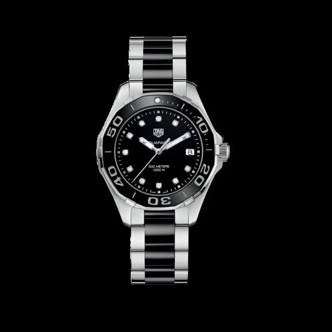 Damenuhr TAG Heuer Aquaracer Lady Quartz 35mm mit Diamanten, schwarzem Zifferblatt und Edelstahlarmband bei Brogle