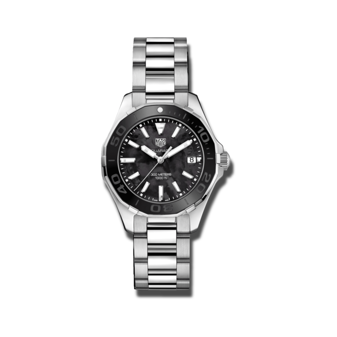 Damenuhr TAG Heuer Aquaracer Lady Quartz 35mm mit schwarzem Zifferblatt und Edelstahlarmband bei Brogle