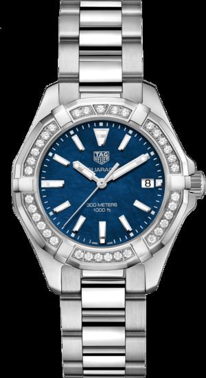 Damenuhr TAG Heuer Aquaracer Lady Quartz 35mm mit Diamanten, blauem Zifferblatt und Edelstahlarmband