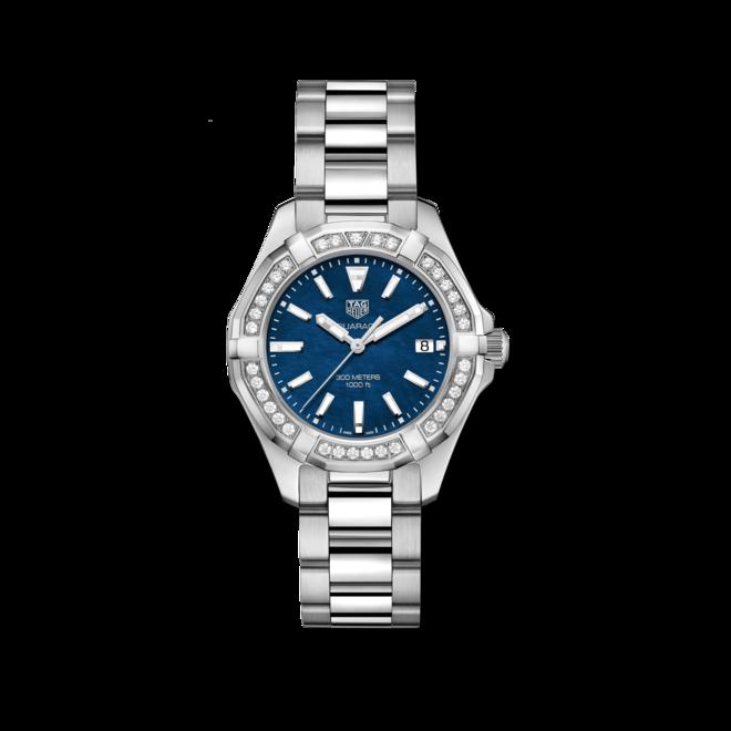 Damenuhr TAG Heuer Aquaracer Lady Quartz 35mm mit Diamanten, blauem Zifferblatt und Edelstahlarmband bei Brogle