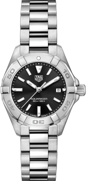 Damenuhr TAG Heuer Aquaracer Quartz 27mm mit schwarzem Zifferblatt und Edelstahlarmband