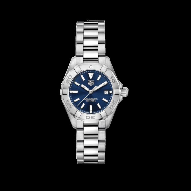 Damenuhr TAG Heuer Aquaracer Quartz 27mm mit blauem Zifferblatt und Edelstahlarmband bei Brogle