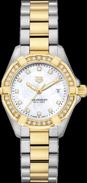Damenuhr TAG Heuer Aquaracer Quartz 27mm mit Diamanten, perlmuttfarbenem Zifferblatt und Edelstahlarmband