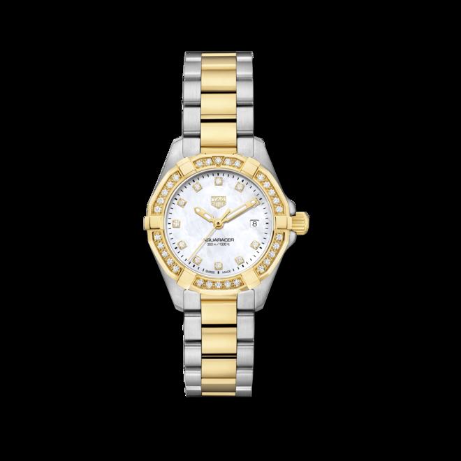Damenuhr TAG Heuer Aquaracer Quartz 27mm mit Diamanten, perlmuttfarbenem Zifferblatt und Edelstahlarmband bei Brogle
