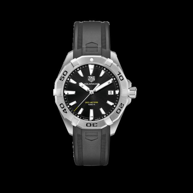 Herrenuhr TAG Heuer Aquaracer Quartz 41mm mit schwarzem Zifferblatt und Kautschukarmband bei Brogle