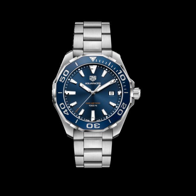 Herrenuhr TAG Heuer Aquaracer Quartz 43mm mit blauem Zifferblatt und Edelstahlarmband bei Brogle