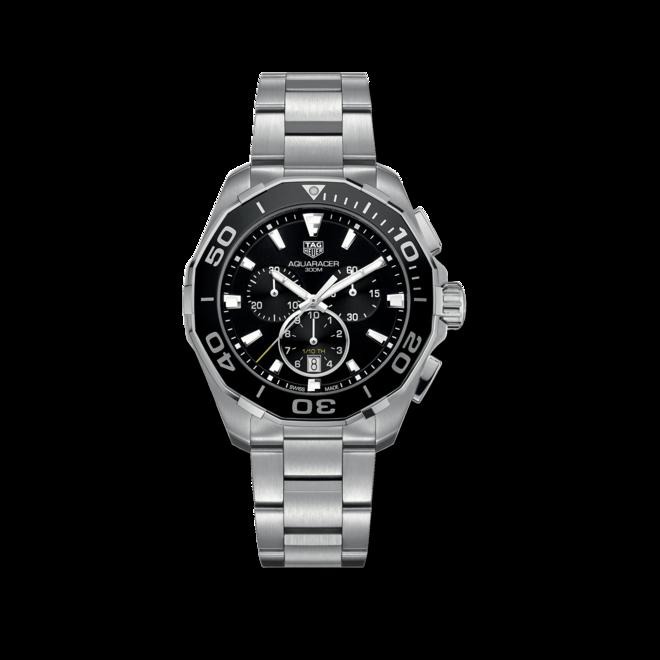 Herrenuhr TAG Heuer Aquaracer Quartz Chronograph 43mm mit schwarzem Zifferblatt und Edelstahlarmband bei Brogle