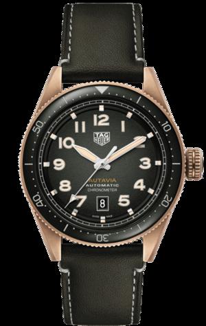 Herrenuhr TAG Heuer Autavia Automatic 42mm mit grünem Zifferblatt und Kalbsleder-Armband