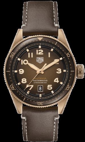 Herrenuhr TAG Heuer Autavia Automatic 42mm mit braunem Zifferblatt und Kalbsleder-Armband