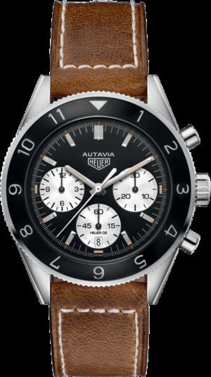 Herrenuhr TAG Heuer Autavia Automatic Chronograph mit schwarzem Zifferblatt und Kamelleder-Armband
