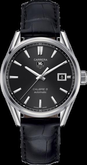 Armbanduhr TAG Heuer Carrera Automatic 39mm mit schwarzem Zifferblatt und Alligatorenleder-Armband