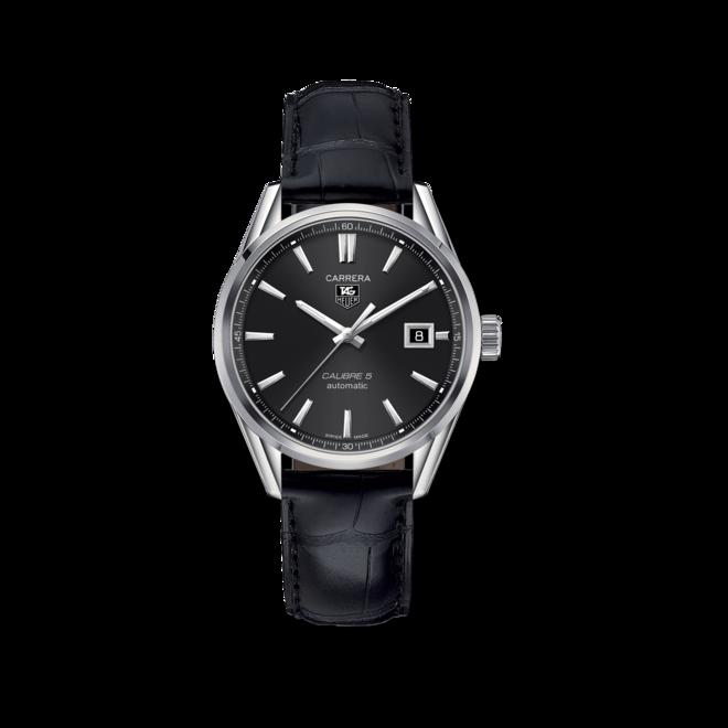 Armbanduhr TAG Heuer Carrera Automatic 39mm mit schwarzem Zifferblatt und Alligatorenleder-Armband bei Brogle