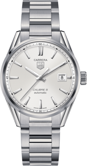 Armbanduhr TAG Heuer Carrera Automatic 39mm mit silberfarbenem Zifferblatt und Edelstahlarmband