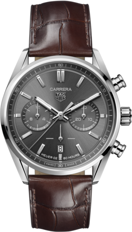 Herrenuhr TAG Heuer Carrera Automatic Chronograph 42mm mit grauem Zifferblatt und Alligatorenleder-Armband