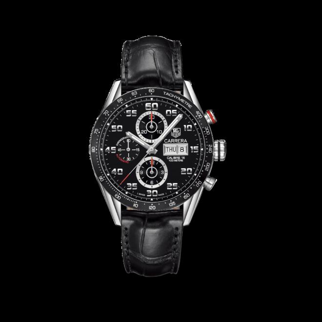 Herrenuhr TAG Heuer Carrera Automatic Chronograph 43mm mit schwarzem Zifferblatt und Alligatorenleder-Armband bei Brogle