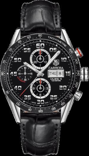 Herrenuhr TAG Heuer Carrera Automatic Chronograph 43mm mit schwarzem Zifferblatt und Alligatorenleder-Armband