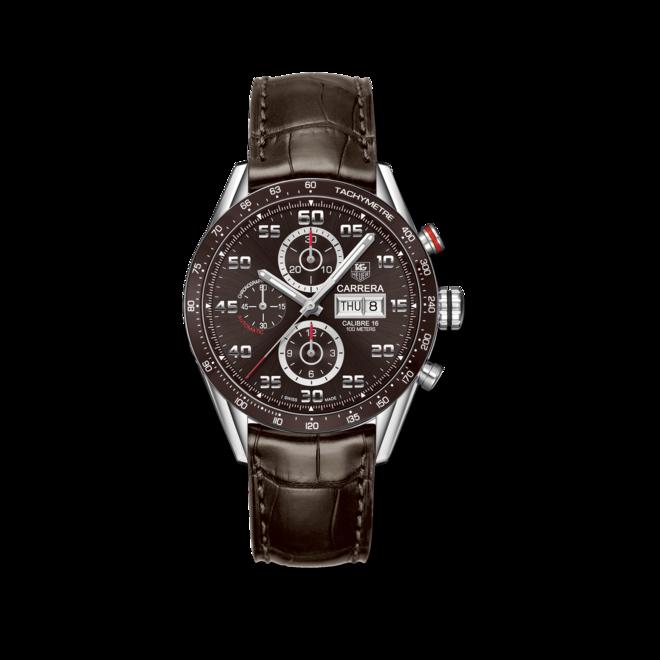 Herrenuhr TAG Heuer Carrera Automatic Chronograph 43mm mit braunem Zifferblatt und Alligatorenleder-Armband bei Brogle