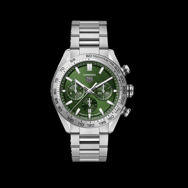 Herrenuhr TAG Heuer Carrera Automatic Chronograph 44mm mit grünem Zifferblatt und Edelstahlarmband bei Brogle