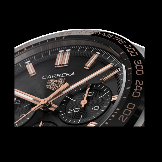Herrenuhr TAG Heuer Carrera Automatic Chronograph 44mm mit schwarzem Zifferblatt und Alligatorenleder-Armband bei Brogle