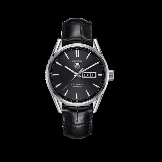 Herrenuhr TAG Heuer Carrera Automatic Day-Date 41mm mit schwarzem Zifferblatt und Alligatorenleder-Armband bei Brogle
