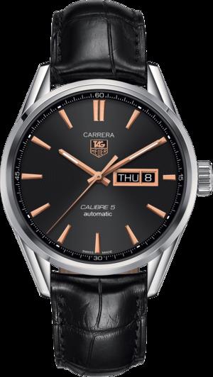 Herrenuhr TAG Heuer Carrera Automatic Day-Date 41mm mit schwarzem Zifferblatt und Alligatorenleder-Armband