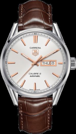 Herrenuhr TAG Heuer Carrera Automatic Day-Date 41mm mit silberfarbenem Zifferblatt und Alligatorenleder-Armband