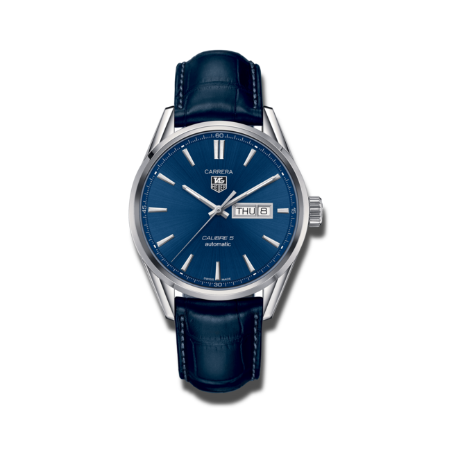 Herrenuhr TAG Heuer Carrera Automatic Day-Date 41mm mit blauem Zifferblatt und Alligatorenleder-Armband bei Brogle