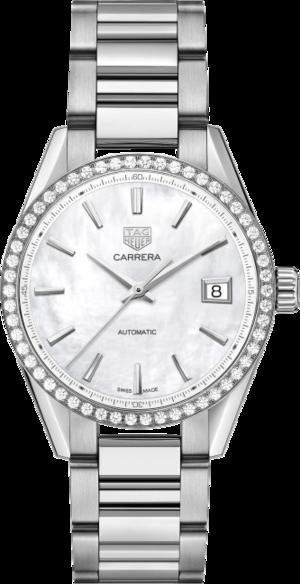 Damenuhr TAG Heuer Carrera Automatik 36mm mit Diamanten, perlmuttfarbenem Zifferblatt und Edelstahlarmband