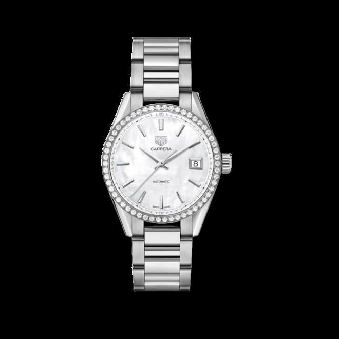Damenuhr TAG Heuer Carrera Automatik 36mm mit Diamanten, perlmuttfarbenem Zifferblatt und Edelstahlarmband bei Brogle