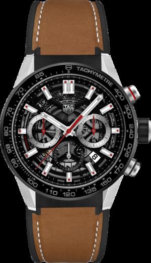 Herrenuhr TAG Heuer Carrera Heuer 02 Chronograph 43mm mit schwarzem Zifferblatt und Kalbsleder-Armband