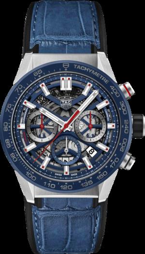Herrenuhr TAG Heuer Carrera Heuer 02 Chronograph 43mm mit blauem Zifferblatt und Kalbsleder-Armband