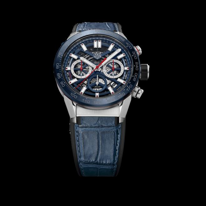 Herrenuhr TAG Heuer Carrera Heuer 02 Chronograph 43mm mit blauem Zifferblatt und Kalbsleder-Armband bei Brogle