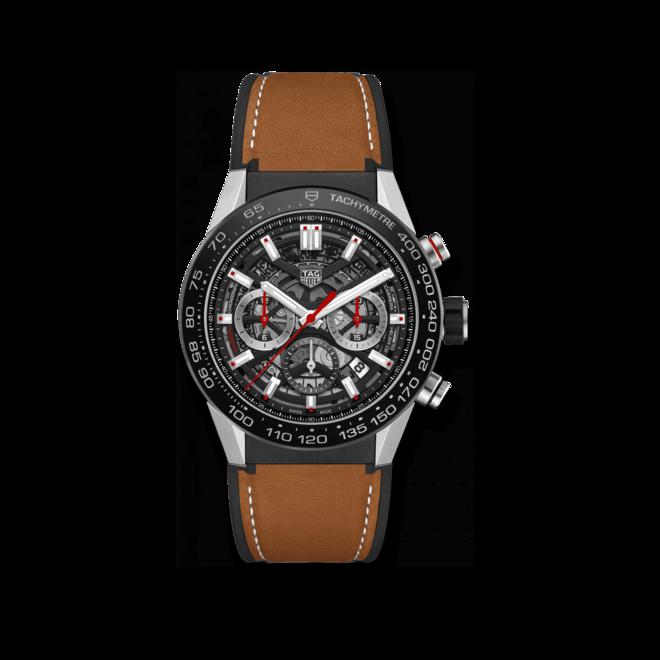 Herrenuhr TAG Heuer Carrera Heuer 02 Chronograph 45mm mit schwarzem Zifferblatt und Kalbsleder-Armband bei Brogle