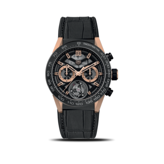 TAG Heuer Herrenuhr Carrera Heuer 02 Tourbillon Automatik Chronograph COSC 45mm CAR5A5U.FC6377