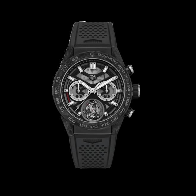 Herrenuhr TAG Heuer Carrera Heuer 02 Tourbillon Chronograph 45mm mit schwarzem Zifferblatt und Kautschukarmband bei Brogle
